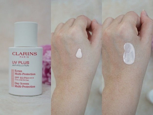kem chống nắng clarins rosy glow texture and finish