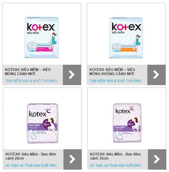 băng vệ sinh Dòng Kotex siêu mềm